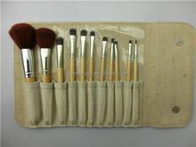 11pcs vegan hair bamboo handle cosmetic travel brush kit, makeup brush set with cosmetic bag