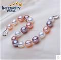 La gota 8-9mm naturales de agua dulce de la perla pulsera
