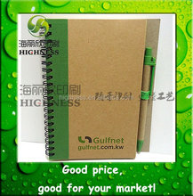 recycled Spiral cover Notebooks with pen