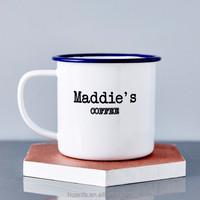 new products 2015 innovative product porcelain enamel coffee mug,enamel camping mug white blue rim,enamel mug