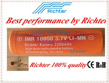 3.7V cylinder lithium ion battery 18650 Richter brand IMR18650 2200mAh 3.7V rechargeable battery for electric bike