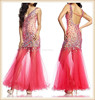 2015 unique design watermelon red and nude long sleeveless V neck mermaid crystal beaded see through tulle sexy party dresses