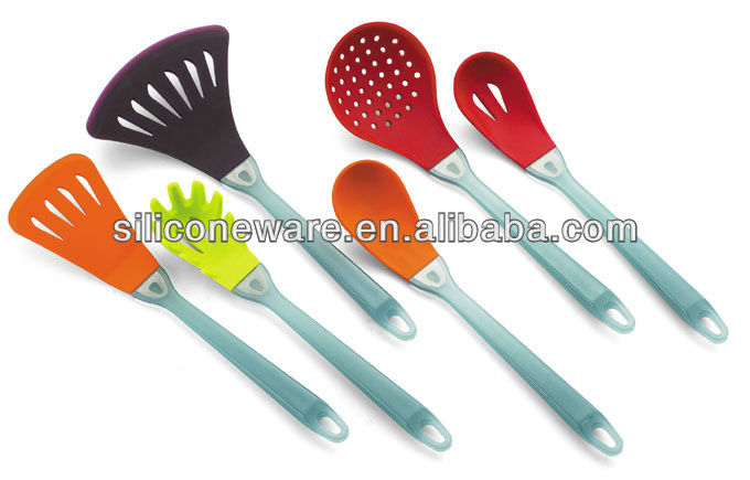 As handle silicone kitchen tools kitchen utensils colorful for Colorful kitchen tools