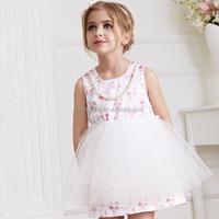 Sleeveless polyester kids girls formal evening dresses