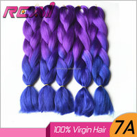 24Inch 8Pcs X-pression Ultra Jumbo Braid Purple Blue Ombre Two Tone Colored Heat Resistant Synthetic Braiding Hair
