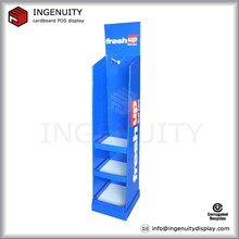 retail cardboard toothbrush floor display stand with hooks for advertising