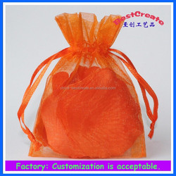 Fashional and Recyclable Drawstring 3'x4' Orange Soap organza pouches