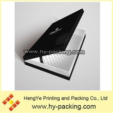 Dark black paper apparel box with elastic support in dongguan/Gold support on Alibaba