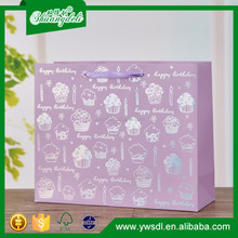 China supplier of hot stamping happy birthday cake packaging design paper gift bag sweet cake carrier