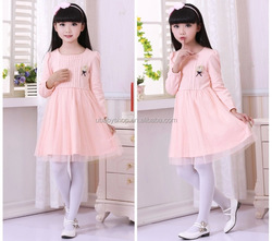 New Autumn Kids Korean Fashion Cotton Dress,Girl Pink Gauze Dress