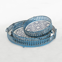 Antique Printed Round S/3 Metal tray