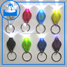 Promotion plastic led keychain light with metal key ring