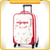 soft fabric nylon material suitcase trolley PU luggage bag with printing cherry