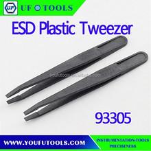 93305 Cheap Cleanroom Tweezer,Flat Tip Plastic Anti Static Tweezers, Carbon Fiber Tweezer