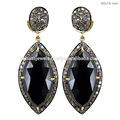 Black onyx pingente brincos, 14k ouro e diamantes queda jóias brincos, feitas à mão brincos da forma jóia por atacado