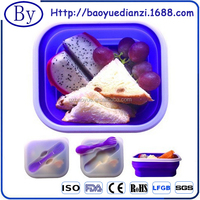 Factory Price Microwave Safe Durable Soft Silicone Collapsible Lunch Container With Customized Company Logo 2015 New