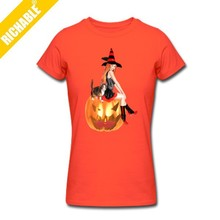 2015 Cotton Women Custom Printed Logo Halloween t shirt With Short Sleeve