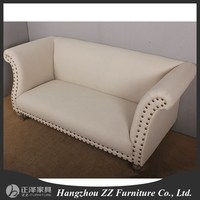 2015 new style simple design wooden frame sofa silver nail sofa furniture