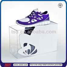 TSD-A207 factory custom clear acrylic shoe display case/decoration shoe shop/shoes showcase designs