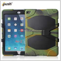 trade assurance supplier Army PC+silicon combo case with screen protector and Holster for iPad Air 2