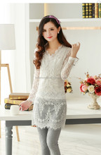 Spring Long Sleeve Ladies Lace Blouse With Rhinestones CA-2319--981