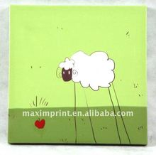 Children canvas wall art with cartoon sheep printed image