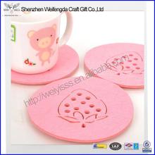Fancy Lasering Pink Round Felt Coaster