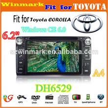 Panel digital reproductor de DVD especial del coche 6.2'' HD para Toyota Corolla con GPS, IPOD, Bluetooth, DVD, TV, Radio, etc