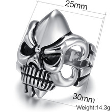 Wholesale stainless steel rings without stones punk style skull ring mens ring