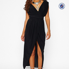 Fascinating slinky plunge maxi black evening dress sexy thigh split dress