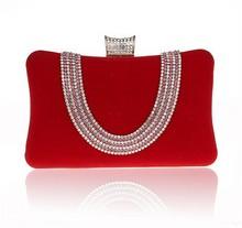 2015 Trendy crystal and rhinestone box clutch purse Fashion women vintage clutch bags