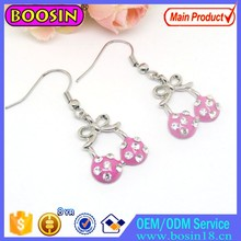New Fashion Pink Enamel Crystal Bikini Sexy Earring Drop Jewelry # 2867