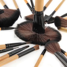 Set 24pcs Wood Professional Cosmetic Makeup Brush Pouch Bag Case