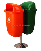 Plastic waste bin with competitive price 50 liter * 2 green and red color