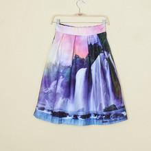 Walson instyles Sunset Glow&Waterfall Print High Waist Pleated Midi Skirt Swing Skirt