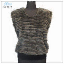 fashion O-neck rex rabbit fur strips with knitting vest for girls and women in grey color