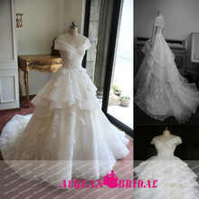 A112 Real Samples Off Shoulder V Neck Ruffle Ball Gown Lace Wedding Dress 2015