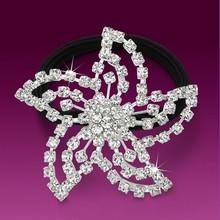 fashion metal silver plated crystal flower shape kknekki hair elastic band