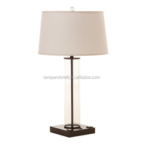 antique brass base clear glass tube table lamp with power outlet and USB port in the base