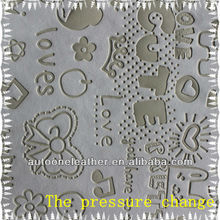 The pressure change pu leather for diary cover and mobile phone cover