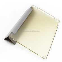 Folding stand leather table case with clear back cover for ipad pro 12.9 inch