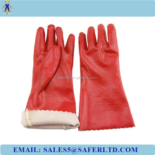 PVC coated interlock lining cheap pvc gloves for cut and chemical resistant