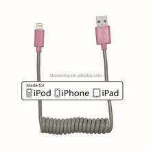 5ft 1.5m multi color MFI coiled usb cable for ipad mini/iphone 6 plus flexible telephone sync charger data cable for ipad air