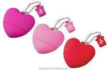 heart shape PVC usb flash memory disk,mini usb flash drive for promotional gift