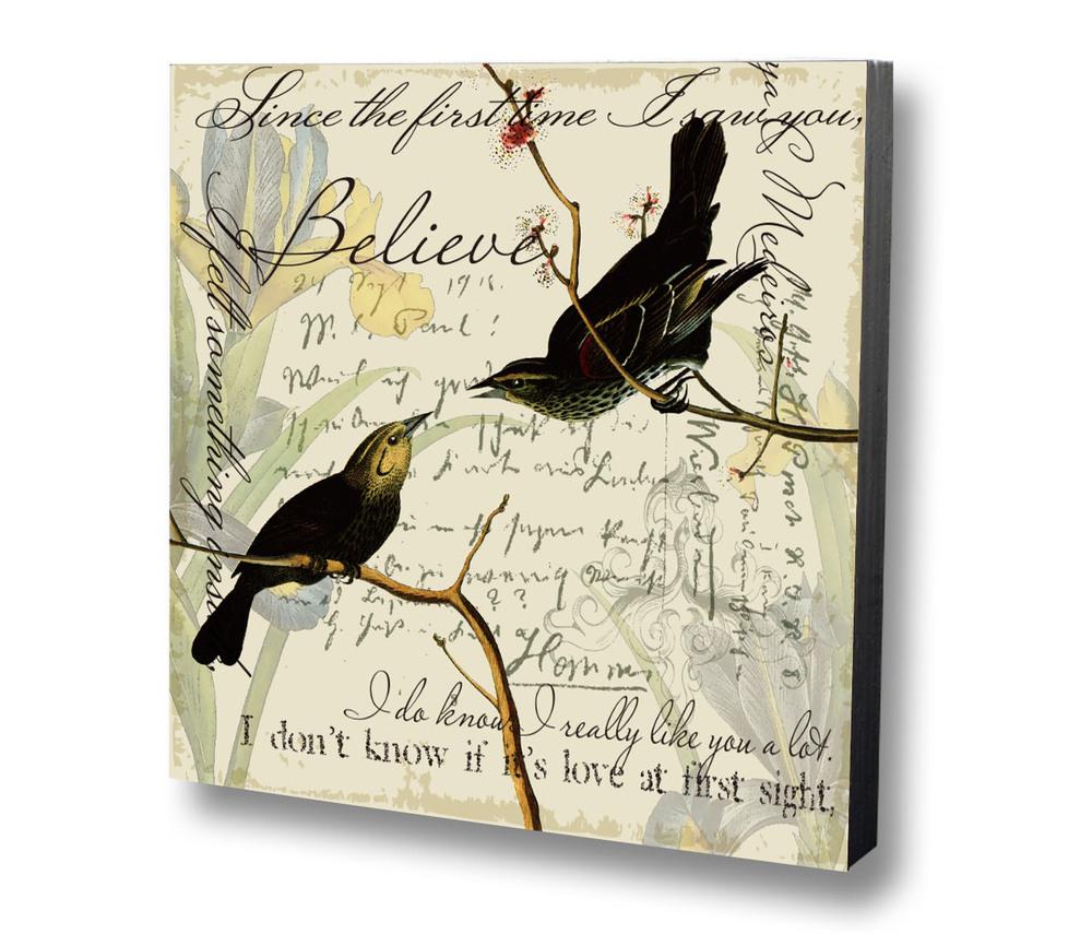 Plaque murale d corative no l en bois oiseaux antique for Decoration murale oiseau