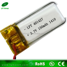 401427 li-ion battery 3.7v 150mah rechargeable for bluetooth headset