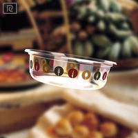 R- Round diposable plastic biodegradable glass container fresh salad food bowl 8oz/ 240 ml/ salad/ food/yogurt/fruit/sauce
