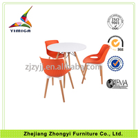 Top quality wooden legs 4 person dining table and chair