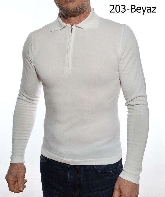 White Zipper Sweater Mens Polo Collar White Zipper