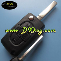 New arrival 4 button flip key shell for peugeot key cover peugeot remote key shell no battery place NO LOGO